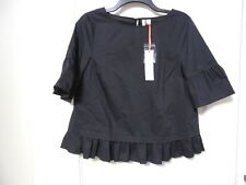 NWT Women's ELLE Black Peplum Blouse Size Small - MSRP $44