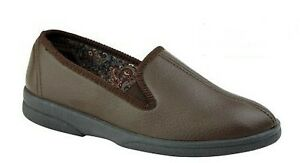 Sleepers Men's PU Gusset Slippers, Outdoor Sole, BROWN size 11