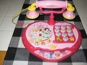 DISNEY VTECH PRINCESS DIAL N LEARN LIGHT UP TELEPHONE NO CRACKS WORKS WELL TOY