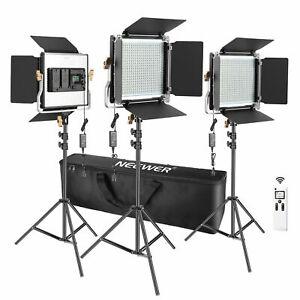 Neewer 3 Packs Advanced 2.4G 480 LED Video Light Lighting Kit with LCD Screen