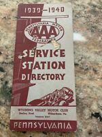 VINTAGE 1939-40 AAA PENNSYLVANIA SERVICE STATION DIRECTORY