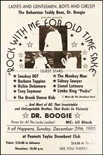 Bahamanian Teddy Bear Dr. Boogie Poster at Peanuts Taylor's Drumbeat Club 1985