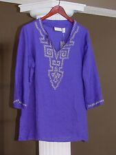 Chico's Purple Crocus Embellished Linen Tunic Top Shirt Size 1 (8-10)