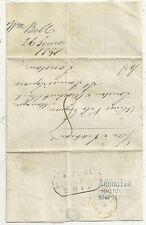 * 1851 BLU Gibilterra datato nave lettera & Incorniciata Liverpool Spedisci a Londra Banca