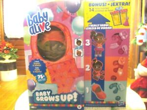 African American Baby Alive Baby Grows Up NEW Bonus Pack 14 BONUS Party Surprise