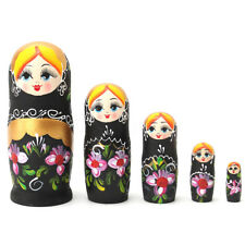 5Pcs/Set Matryoshka Russian Nesting Dolls Babushka Wooden Black Gift Flowers
