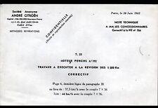 """Concessionnaire AUTOMOBILE CITROEN MOTEUR PERKINS """"NOTE TECHNIQUE N°764"""" en 1962"""