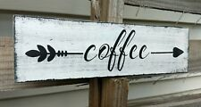 farmhouse wood sign COFFEE arrow decor wooden rustic welcome kitchen small 12""