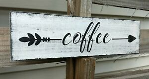"""farmhouse wood sign COFFEE arrow decor wooden rustic welcome kitchen small 12"""""""