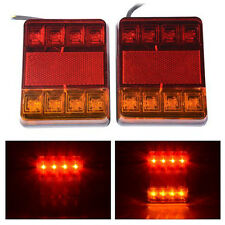 1 Pair DC 12V 8 LED Trailer Lights Tail Lights Trailer Rear Truck Caravan Square
