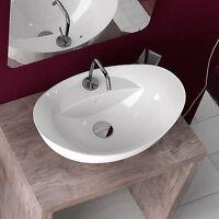 Lavabo bagno da appoggio in ceramica bianco monoforo 59x39 cm a bacinella design