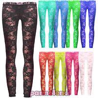 Leggins donna pantaloni leggings pizzo floreale trasparente nuovi CC-014