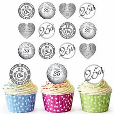 25th Silver Wedding Anniversary 30 Pre-Cut Edible Cupcake Toppers Decorations
