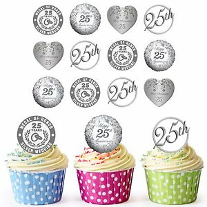 25th Silver Wedding Anniversary 24 Pre-Cut Edible Cupcake Toppers Decorations