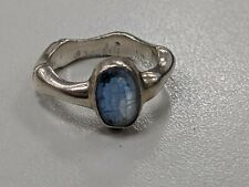 Vintage Sterling Silver Size L Oval Aquamarine Ring Charity Sale GA1073