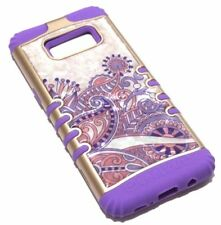 for Samsung Galaxy S8 - Purple Flower Crystal Hard Soft Hybrid Rubber Armor Case