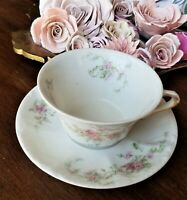 Theodore Haviland Limoges Cup & Saucer Teacup Pink Daisy Floral Aster Gold trim