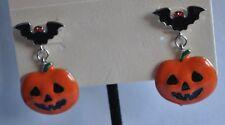 Earrings In Silver Tone Kirks Folly Halloween Jack-O-Lantern Bat