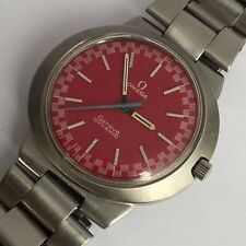 OMEGA DYNAMIC  RED RACING DIAL MANUAL WIND MENS RARE