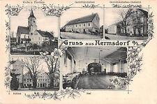 Gruss aus Hermsdorf O. Lausitz Gerichtskretscham Kirche 1913