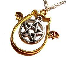 DEVIL WINGED CAT & PENTAGRAM NECKLACE occult gothic bat silver gold vampire O4