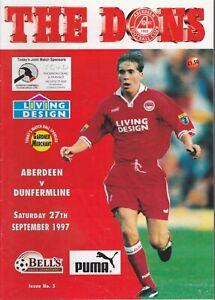 Aberdeen Home Programmes Season 1997-1998