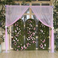 2xSheer Curtain Curtain Wedding Ceremony Tulle Backdrop Decor No Lamp Pink