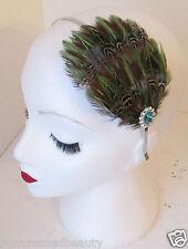 Verde Auténtico Pluma Accesorio para pelo vintage años 20 Diadema Flapper PLATA