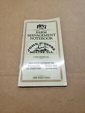 Old Vintage 1987 John Deere Moline Ill. Advertising Farm Management Note Book