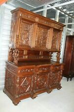 French Antique Rosewood Hunt Scene Renaissance Buffet / Hutch Circa 1880