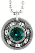 Emerald Crystal Roller Derby Skate Bearing Pendant Necklace - May Birthstone