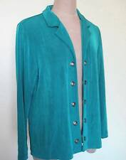Chicos Travelers Open Front Jacket Size 2 M Turquoise Blue