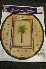 Toilet Tattoos NEW Palm Tree bamboo - vacation theme round seat 12x13.5 NICE