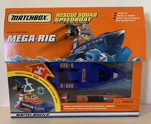 Matchbox Mega Rig Rescue Squad Speed Boat 1998 Brand New Sealed Mint RARE NICE!!
