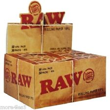 Raw Natural Smoking Unbleached Rolling Paper Tips 50 Booklets Box Brand New