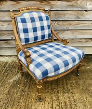 LOVELY ANTIQUE 19th CENTURY FRENCH GILTWOOD LOW ARM CHAIR, C1900