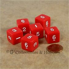 NEW Set of 6 Red with White Numbers D6 Six Sided RPG D&D Gaming 16mm Dice Koplow