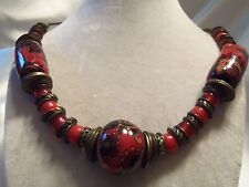 Incredible Vintage Chunky Ceramic, Red Glass & Brass on Leather Necklace 15N399