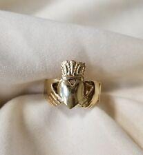 14k yellow gold high polished irish claddagh ring size 6 1/5