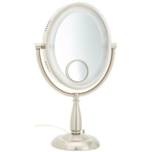 Jerdon HL9510N 8-Inch Two-Sided Oval Halo Lighted Vanity Mirror with 10x and 15x