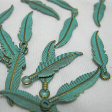 50pcs Feather Charms Jewelry Making Findings Birds Feather Green Patina 22x7mm