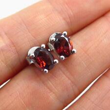 925 Sterling Silver TGGC Real Red Garnet Gemstone Stud Earrings