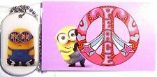 NEW! Minions Movie Dog Tag  Minion Mania Bob necklace #12 sticker #11 Peace Bob