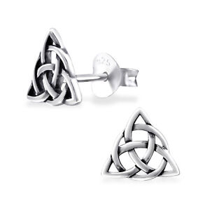 925 Sterling Silver Celtic Knot Triangle Stud Earrings (Design 3)