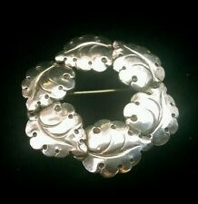 Vintage Niels Eric N.E. From Sterling Silver Leaf Brooch or Pin Denmark