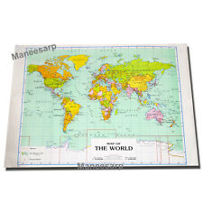 MAP OF THE WORLD POSTER Detailed Colourful Wall Chart FREE SHIPPING size 54x79cm