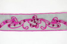 """CLEARANCE! 1.5"""" Cerise Embroidery Organza Ribbon/ Lace Trim - 20 Metres"""