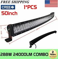 "288W 50""in Curved Led Work Light Bar Combo Driving ATV Offroad Boat 240W250W300W"