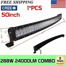 288W 50inch CREE Curved Led Light Bar Spot Flood Combo For ATV Offroad Jeep Lamp