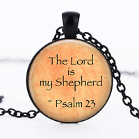 The Lord is my Shepherd Black Glass Cabochon Necklace chain Pendant Wholesale
